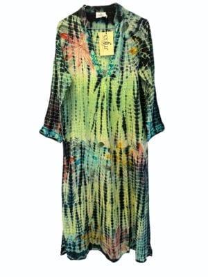Vintage sarisilk Goa maxidress multi pastels dipdye S/M