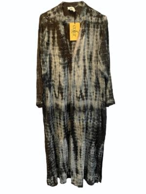 Vintage sarisilk Goa maxidress Black/grey Palliet dip dye M/L
