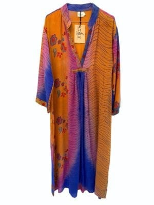 Vintage sarisilk Goa maxidress orange/purple M/L