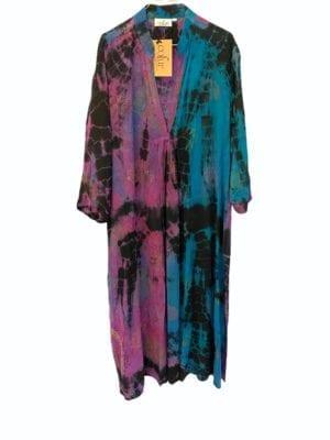Vintage sarisilk Goa maxidress Blue/purple dip dye M/L