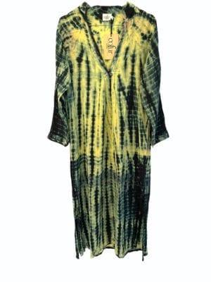 Vintage sarisilk Goa maxidress lime dipdye S/M