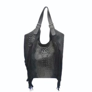 Shoulder bag, Large Fringe croco bag Black