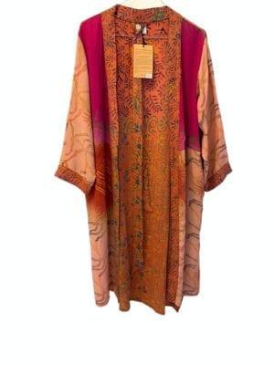 Vintage sarisilk short kimono Peach onesize