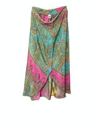 Vintagesarisilk  Tulip Skirt Pink/mint M/L