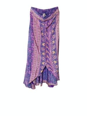 Vintagesarisilk  Tulip Skirt Purple/coral S/M