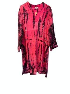 Vintage sarisilk shirtdress Pink dip dye M/L