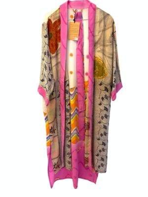 Vintage sarisilk Long kimono Pink dot mix Onesize