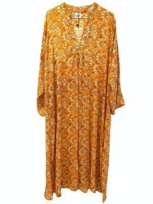 Vintage sarisilk Goa maxidress orange satin XL