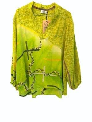 V-neck shirt sarisilk Lime mixM/L
