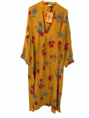 Vintage sarisilk Goa maxidress Yellow flower Dot M/L