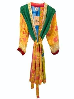 Vintage sarisilk short kimono Multicolor onesize