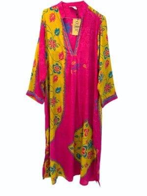 Vintage sarisilk Goa maxidress Pink/Yellow mix M/L