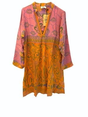 Vintage sarisilk Goa short dress Rose/yellow mix S/M