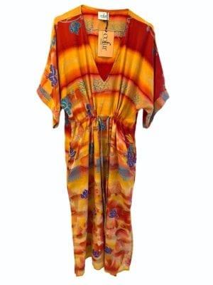 Vintage sarisilk Pernille dress Orange Botanic Onesize
