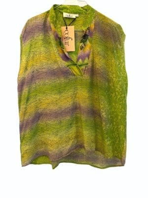 V-neck sleeveless shirt sarisilk lime mix M/L
