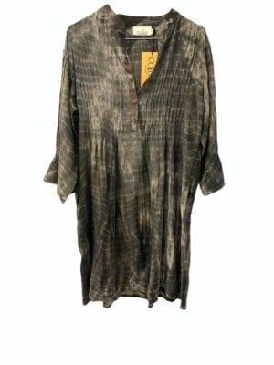 Vintage sarisilk City dress Grey dip dye M/L