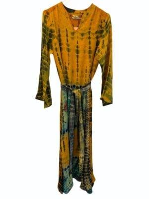 Vintage sarisilk Copenhagen maxidress Yellow/mint dip dye S/M