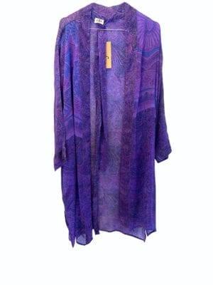 Vintage sarisilk short kimono Purple chiffon onesize