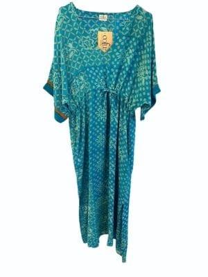 Vintage sarisilk Pernille dress Turkis tiles Onesize