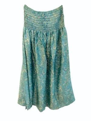Vintagesarisilk Skirt Blue satin Onesize