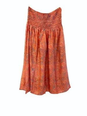 Vintagesarisilk Skirt Coral satin Onesize