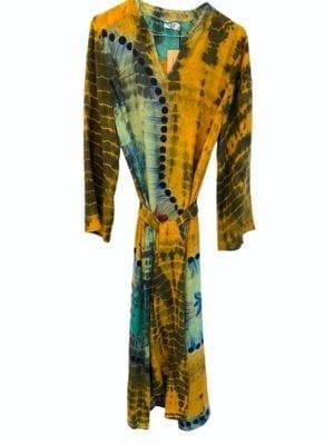 Vintage sarisilk Copenhagen maxidress Yellow/mint dip dye M/L