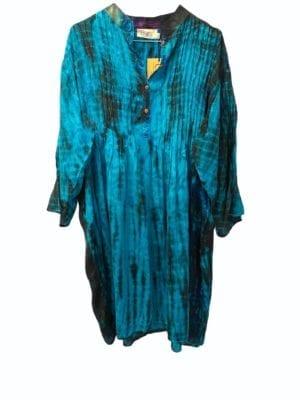 Vintage sarisilk City dress Turkis dip dye XL