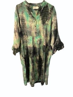 Vintage sarisilk City dress Mint/Grey dip dye M/L