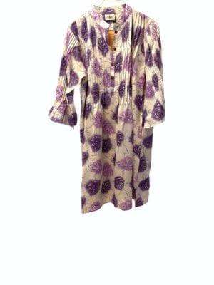 Vintage sarisilk City dress Lavender/white Satin M/L