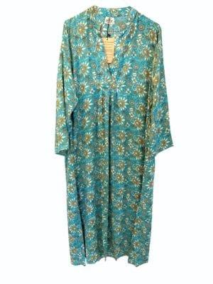 Vintage sarisilk Goa maxidress Turkis satin M/L