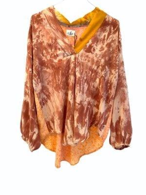 V-neck shirt sarisilk Apricot dip dye mix M/L