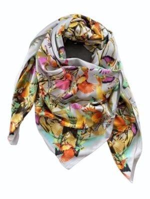 Big Silk scarf grey kolibri