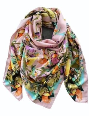 Big Silk scarf Rose kolibri