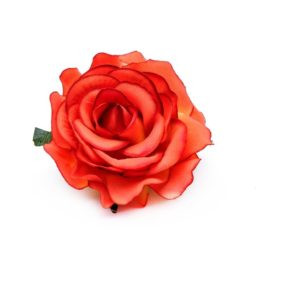 Rose hairclip/pin coral red