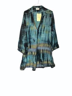 Vintage sarisilk Goa short dress blue dipdye M/L