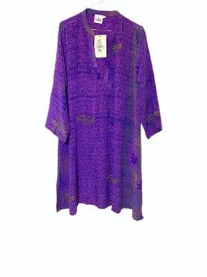 Vintage sarisilk Goa short dress Purple M