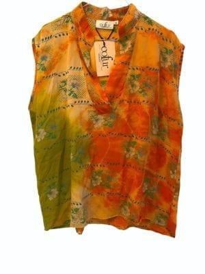 V-neck sleeveless shirt sarisilk orange mix M/L