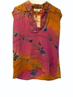 V-neck sleeveless shirt sarisilk Pink yellow mix S/M
