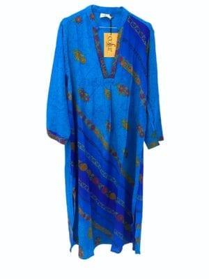 Vintage sarisilk Goa maxidress Royal Blue M/L