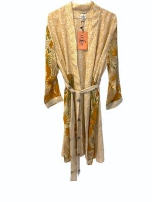 Vintage sarisilk short kimono Creme botanic mix Onesize