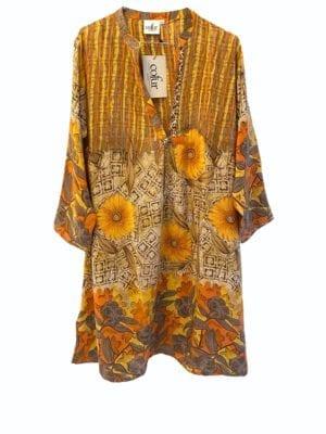 Vintage sarisilk Goa short dress Retro yellow flower S/M