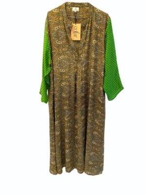 Vintage sarisilk Goa maxidress Green Paisley XL