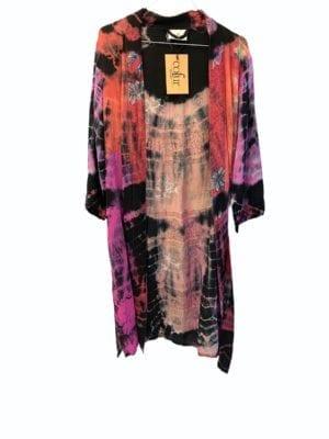 Vintage sarisilk short kimono Pink dipdye mix S/M