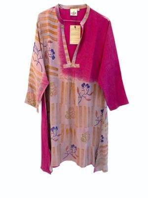 Vintage sarisilk Goa short dress Pink mix S/M