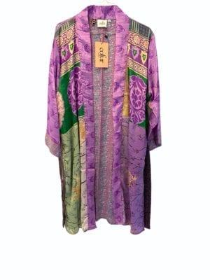 Vintage sarisilk short kimono Purple/green mix Onesize