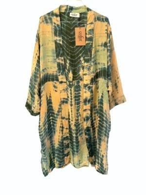 Vintage sarisilk short kimono Nude dipdye Onesize