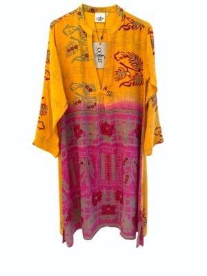 Vintage sarisilk Goa short dress Pink/yellow mix S/M