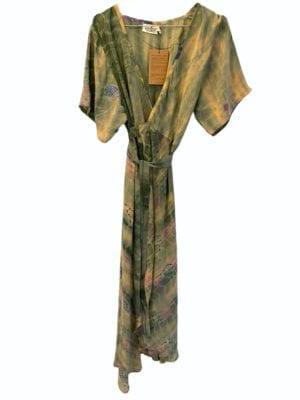 Vintage sarisilk Wrapdress soft pastel dipdye XL