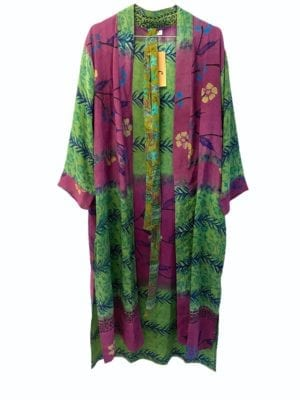 Vintage sarisilk Long kimono Green/Purple mix Onesize