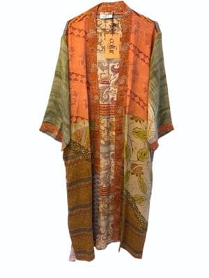 Vintage sarisilk Long kimono Earth mix